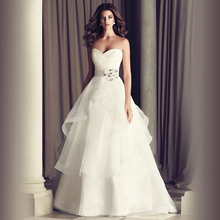 Charming Sweetheart White Organza Wedding Dresses Custom Made Flower Side Lace Up Design Bridal Gown 2017