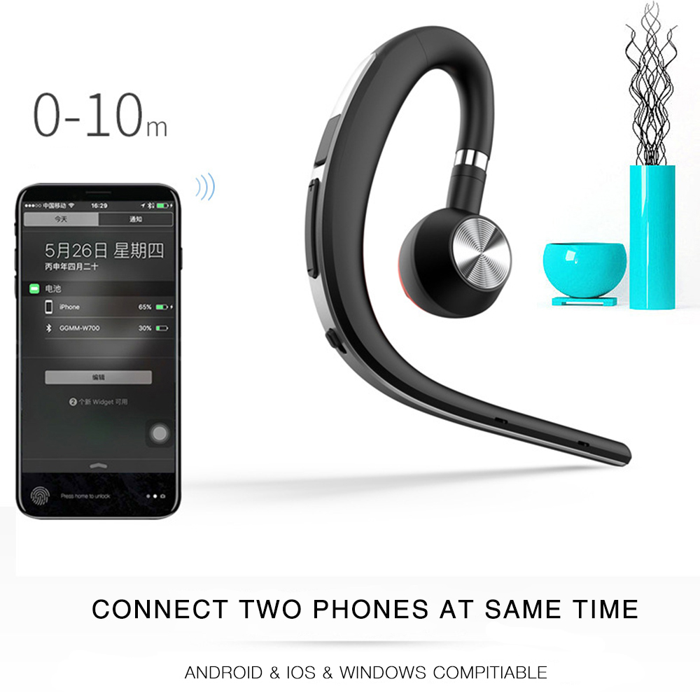 Lymoc Upgrade Y3+ Bluetooth Earphone Handsfree Ear Hook Wireless Headsets V4.1 Noise Cancelling HD Mic Music For iPhone Huawei 4