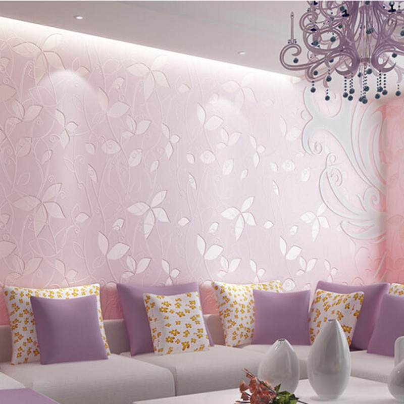 wallpaper Non-woven Wallpaper leaves pattern wallcovering simple wall paper for kids bedrooms blue/pink papel de parede R470<br><br>Aliexpress