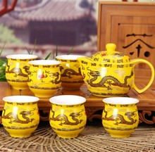 Hot,Chinese dragon thermal insulation proof tea sets,double cups,ceramic teapots,for home/office/wedding,for Chinese puer tea(China)