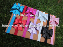 "XIMA  Elastic Headbands Soft Headbands with 2.75""Embroidered Sequin Bows Kids Hair Accessories  50pcs/lot"