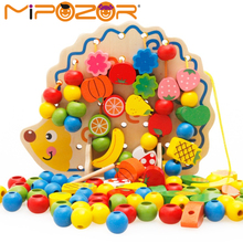 MIPOZOR Learning Education Wooden Puzzle Toys 82 Pcs Hedgehog Fruit Beads Montessori Oyuncak Educational Toy For Children(China)