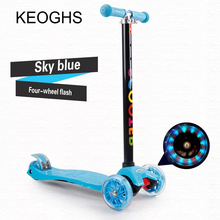 Children's kick scooter baby kid PU 4wheels Fashing outdoor toy 2-12years old Bodybuilding disassembly plastic height adjustable(China)