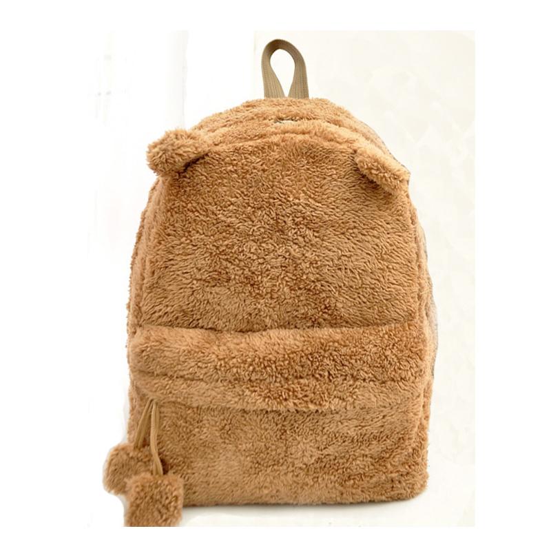 Fshion Autumn and winter Plush Backpack trend  lovely warm Venonat cat ears backpack simple hair bulb bag<br>