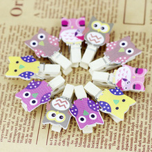 10pcs/bag Mini owl Wooden Photo Paper Peg Pin Clothes pin Craft Postcard Clips Home Crafts Decoration With Rope