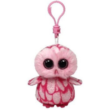 "Ty Beanie Boos Pinky the Pink Owl Clip 3"" Keychain Plush Stuffed Animal Collectible Doll Toy"