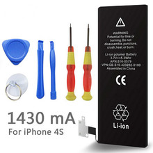 New 1430mAh 3.7V Li-ion Internal Battery Replacement for iPhone 4S 4GS With Repair Tools( 1 pc)(China)