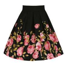 Hot women's Retro skirts 2016 tutu Rose Printed Skirt Elegant Summer Style Women's A-Line Knee-Length Black Color Casual Skirts(China)