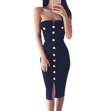 Feitong 2017 Summer Women Dress Ukraine Sexy Club Dress Ladies Strapless Buttons Bodycon Pencil Party Dresses vestido de festa