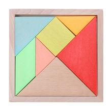 Wooden Jigsaw Puzzle Kids Educational Wood Toys Large Tangram Brain Teaser Geometric Shape Puzzles for Children(China)