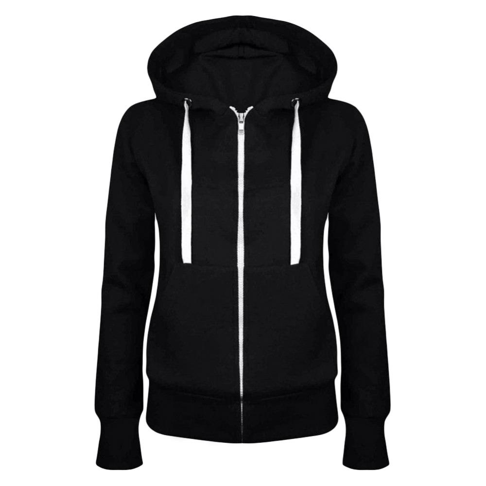 Hot New Winter Autumn Women hoodie Coats Jackets casual hooded top coat Sportwear zipper jacket solid color 17 hoodies Outwear 3