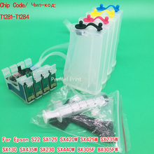 T1281-T1284 Empty CISS Ink System With Chip For Epson S22 SX125 SX420W SX425W SX235W SX130 SX435W SX230 SX440W BX305F BX305FW(China)