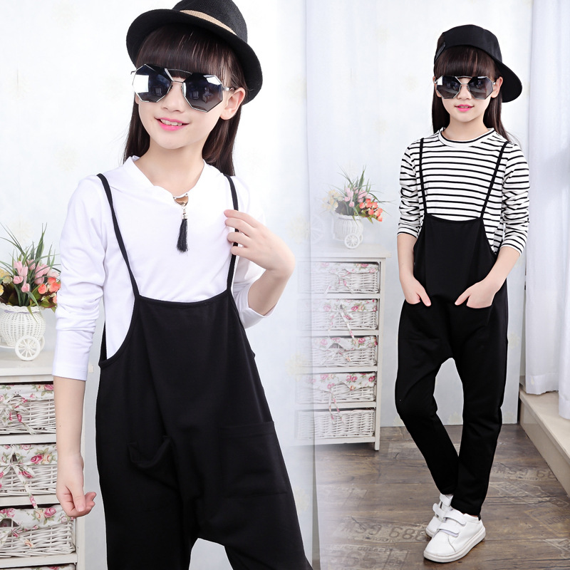 Girl pants to set new hip hop children 5-13 t pants suit, girls straps fall, children take two pieces/sets<br><br>Aliexpress