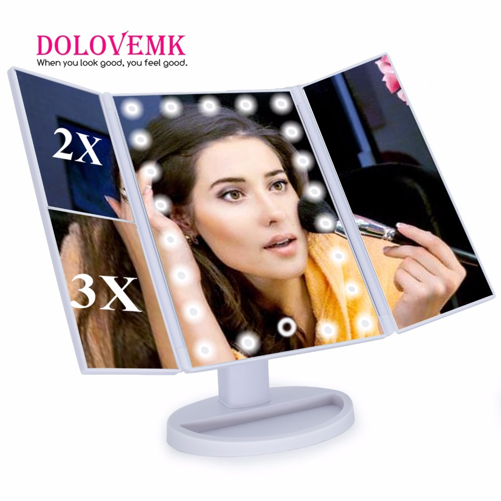 Tri Fold Adjustable 21 LED Lighted Travel Mirror 1X/2X/3X Magnification Make-up Mirror Compact Pocket Mirror for Beauty Makeup<br>