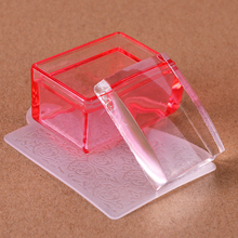 1 Sets New Rectangle Transparent Silicone Jelly Nail Stamper with Image Scraper Cap Nail Stamping Transfer Printing Tools CH622(China)