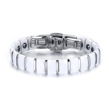 Fashion Womens Bracelets Jewelry Stainless Steel White Ceramic Inlay Bracelet Magnetic Therapy Bar Links Wristband Accessories(China)
