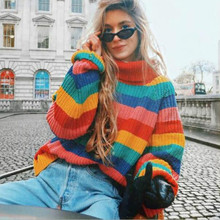 Rainbow Sweaters Turtleneck Hit Colors Striped Pullovers Women Knitted Shirts Lantern Sleeved Oversized Chic Pullover Tops 2018(China)