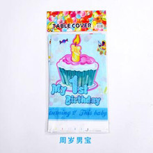 Birthday home decoration plastic tablecloth blue boy first birthday printing party tablecloth baby bath hobby 1pcs / lot