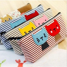 Cheap 2017 New Cat Pattern Cosmetic Bag Women Makeup Bag Travel Organizer Pouch Pencil Pen Bag Stationery package Storage Bag(China)