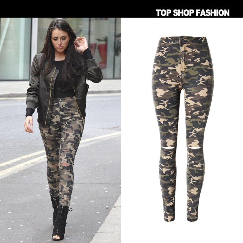 Pants 2017 Summer Autumn Hot Camouflage beggar ripped jeans feet tall waist elastic cultivate one's morality pants street snap