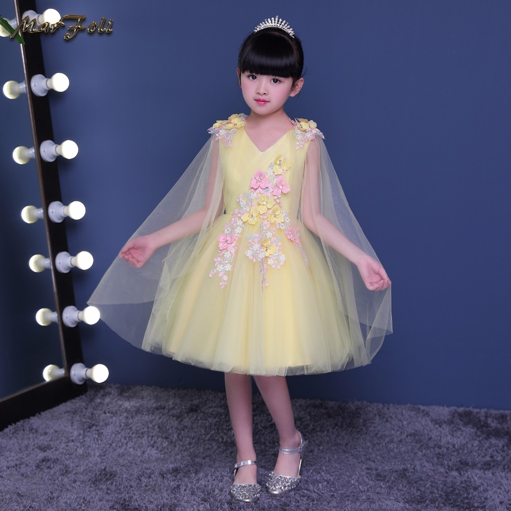 3-14yrs Hot lovely Baby Girls Flower Floral Dress High quality Party Princess Dress Children kids clothes costume for girls<br>
