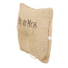 Mr & Mrs Burlap Hessian Rustic Country Wedding Ring Pillow Cushion burlap Bridal Decoration Products Supplies
