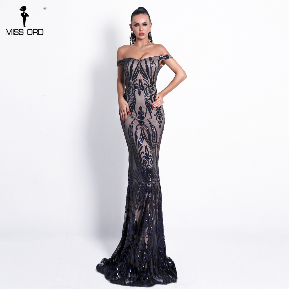 Missord 2019 Women Sexy Bra Off Shoulder Dresses Female Backless Sequin   Elegant Maxi Party  Dress Vestdios FT18691-1