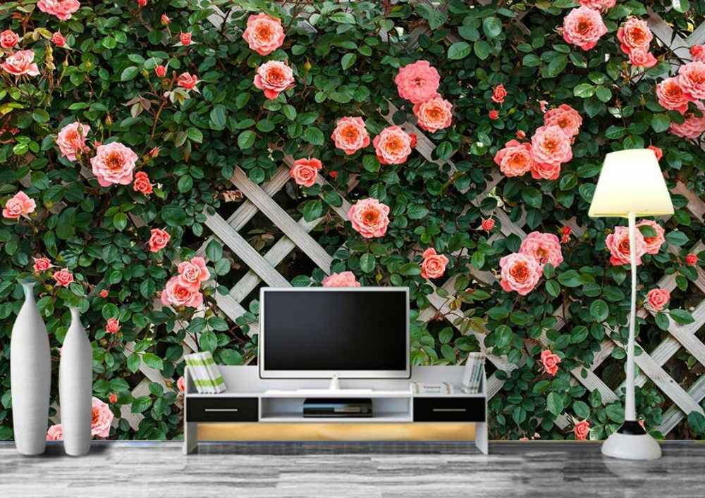 Beautiful Simple Landscape Wall paper Pink Rose 3d Wallpaper Background Decoration Modern European photowallpapier 3d <br>