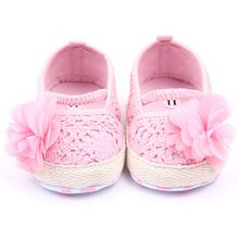 Baby Girls Flower Princess Knittng Crocheted Crib Shoes Infant Toddler Pre walker Summer Shoes(China)