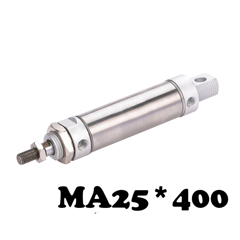 MA25*400 Stainless steel mini cylinder 25mm Bore 400mm Strole Double Acting Pneumatic MA 25-400 Standards Air Cylinder<br>