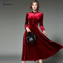 Romantichut New Casual Women Dress Velvet Stand Collar Ladies Long Puff Sleeved Dress Button Elegant Evening Party Dress vestido
