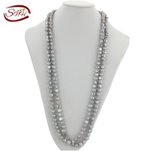 SNH new freshwater pearl necklace necklace handmade genuine pearl 160cm grey color
