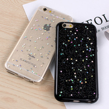 black Transparent Sequins Glitter Star Quicksand Colorful Sequin soft Back cover For iPhone 7 7plus 6 6S Plus 4.7 5.5 inch