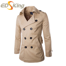 New 2017 Men Trench Coat Solid Turn-down Collar Double Breasted Fashion Slim Fit Casual Outerwear Mens Trench Coats 3 Color