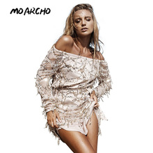 MOARCHO Sexy off shoulder sequin tassel summer 2016 beach party short dress Women backless vintage vestidos