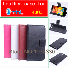 FOR THL 4000 with 2 card slots with stand leather cover case For THL4000 Cell phones White Black PInk Brown
