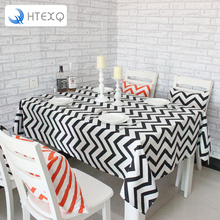 Table cloth waterproof blue,black striped canvas para mesa nappe America country table overlays for weddings(China)