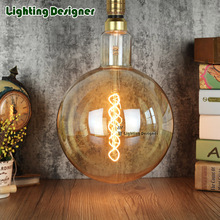 big size G200edison led bulb E27 spiral light amber retro saving lamp vintage filament bulb Edison ampul light chandelier 220V4W