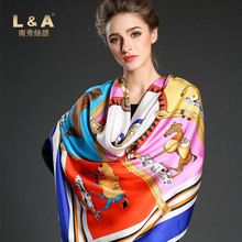 L&A 2017 New Women Pure Silk Square Scarf 100% Natural Mulbery Silk Twill Printed Scarves140x140 Women Winter Fall Wraps NXSP34