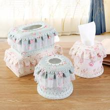 Paper Rack Elegant Coffee House Lace Tissue Box Holder Floral Napkin Roll Paper Box Fabric Holder Household Articles F3-23L(China)