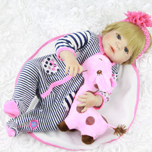 NPK Full Body Silicone Vinyl Babies Reborn Dolls Realistic Alive 23 inch New Born Baby wear Stripe Rompers bebe Bonecas Rebron(China)