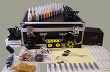 professional tattoo machine set complete tool box power 20colors ink needles tip kit tattoo body paint tattoo supplies