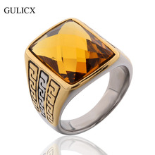 GULICX Brand Fashion Wide Carved Finger Band Stainless Steel Ring for Men Punk Princess Yellow/Black CZ Zirconia Jewelry BR057