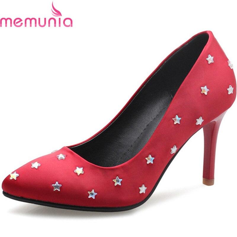 MEMUNIA new arrive women pumps elegant fashion pointed toe rhinestone summer shoes elegant ladies high heels single shoes<br>