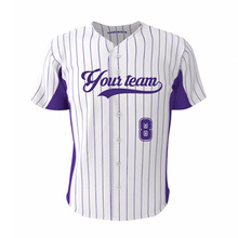 Fans Baseball Jersey Full Buttons Outdoor Sports Purple Stripes #8 Fit Size Custom Youth Softball Mens & Women Shirt Jerseys