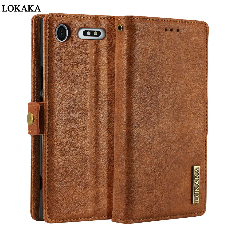 LOKAKA Flip Cover Case Sony Xperia XZ2 XZ 2 Full Protect TPU Luxury PU Leather Sony Xperia XZ1 Wallet Cases Fundas