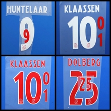 New Eredivisie DOLBERG HUNTELAAR KLAASSEN football number name font print, Hot stamping Soccer patches badges