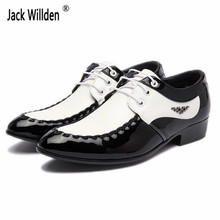 Fashion Men's Leather Lace-Up Dress Office Shoes Man Wedding Party Business Flats Mens Black / White Split Derby Shoe Size 38-47(China)