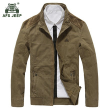 AFS JEEP 2017 Europe men spring casual brand army green jacket coat man autumn high quality 100% pure cotton khaki jackets coats