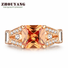 Top Quality Square Rose Gold Color Fashion Ring Austrian Crystals Full Sizes Wholesale ZYR460 ZYR356